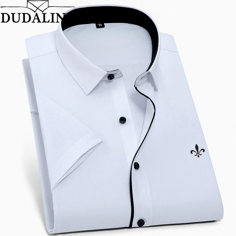 DUDALINA New Summer Fashion Mens Shirt Slim Fit Short Sleeve Casual Shirt Mens Clothing Trend Plus Size Mens Casual Brand Shirt