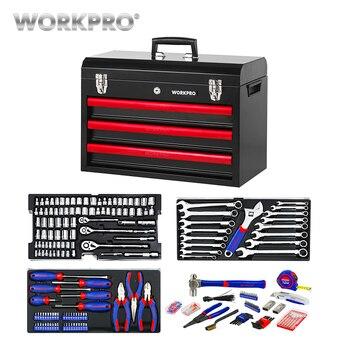 WORKPRO 408 PC металлический ящик для инструментов набор ручных инструментов набор инструментов для дома