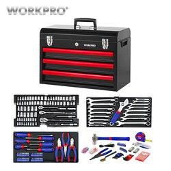 WORKPRO 408PC Home Tool Set Mechanics Tool Set with 3 Drawer Heavy Duty Metal Box
