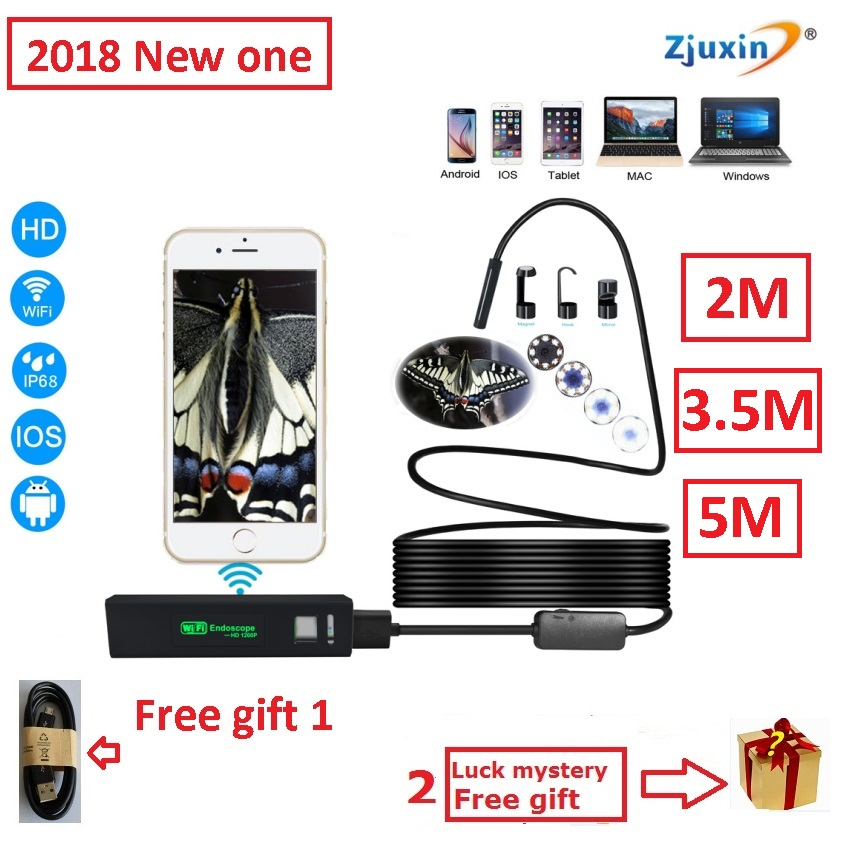 2M/3.5M/5M WIFI Endoscope New Camera 8mm HD Lens USB Iphone Android endoscope Tablet Wireless Endoscope wifi softwire 3 5m wifi endoscope new camera 8mm hd lens usb iphone android endoscope tablet wireless endoscope wifi softwire