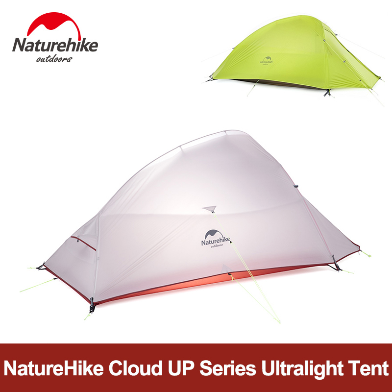 NatureHike Camping Tent 20D Silicone Double-layer Cloud UP Series 1 2 3 Person Ultralight Backpacking Travel Beach Tent with Mat naturehike 1 2 person camping with free mat tent double layer waterproof 3season backpacking tent ultralight for outdoor camping