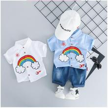 ZWXLHH 2019 Summer Baby Girls Boys Clothing Sets Toddler Infant Clothes Suits Rainbow Lapel Shirt Shorts Kids Children Short Set цена 2017