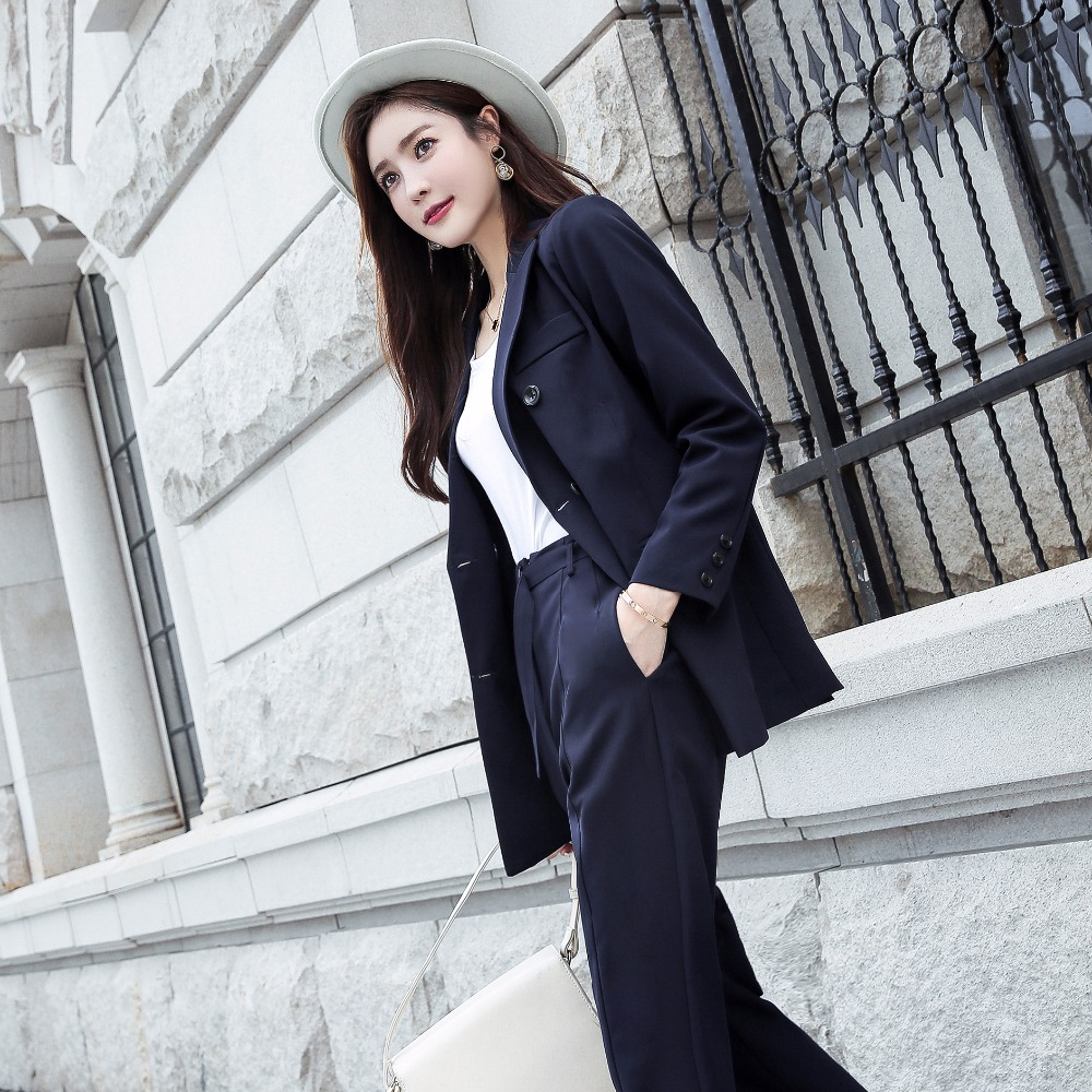 Full Blazer Autumn Red Long Pants Blue Arrival Women's down dark Turn 2018 New And Suits Hots Sleeve Ladies Elegance Tops Collar S88846l ZdYqH4w