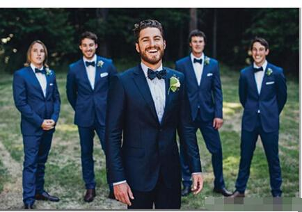2017 Dark Navy Men Suits Slim Fit Prom Party Wedding Bespoke Groomsmen Tuxedos