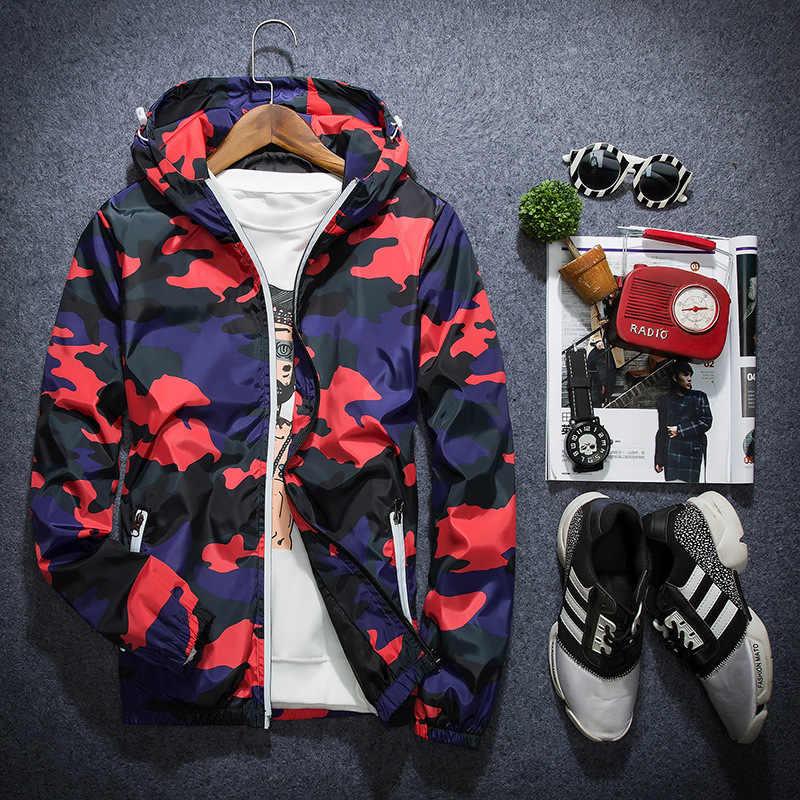 2020 새로운 봄 가을 후드 위장 재킷 남자 얇은 군사 경량 재킷 윈드 브레이커 블루 재킷 5XL 드롭 Shoping