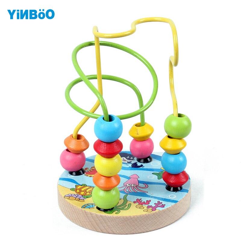 Для детей Детские красочные деревянные Мини threading Бусины развивающие игрушки-4 вида конструкций фермы City животное Sea Life подарок для детей