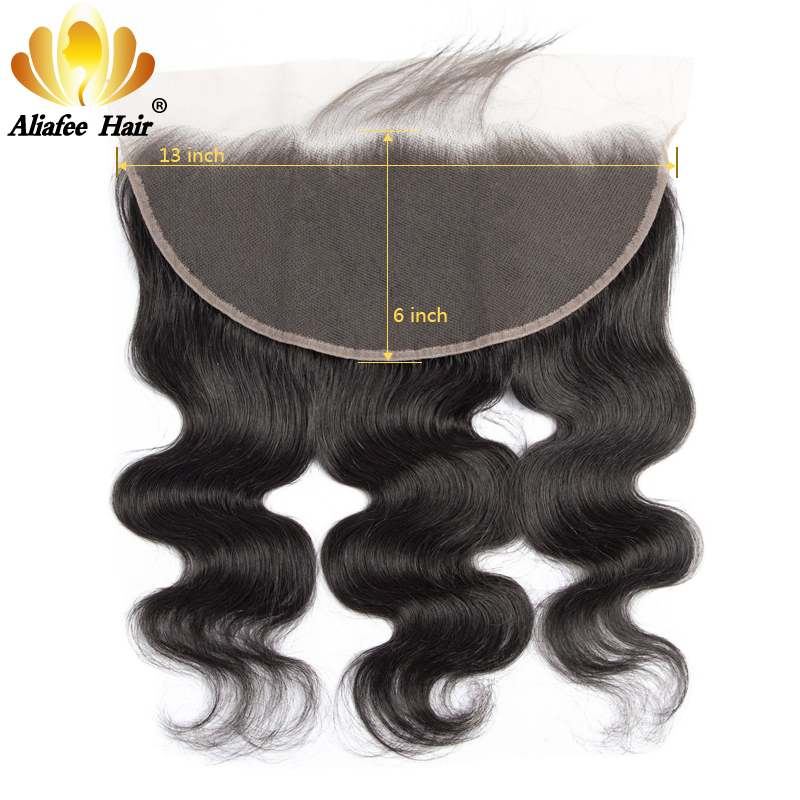 Ali Afee Peruvian Body Wave 13X6 Lace Frontal Human Hair With Baby Hair Pre Plucked Natural Color Remy Hair Closure
