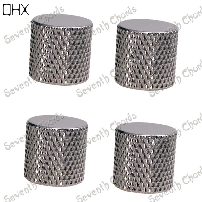 QHX 4 Pcs Flat-Top Gun color Meta Knurled Barrel Volume Tone Control Knobs Buttons for Bass Guitar accessories parts