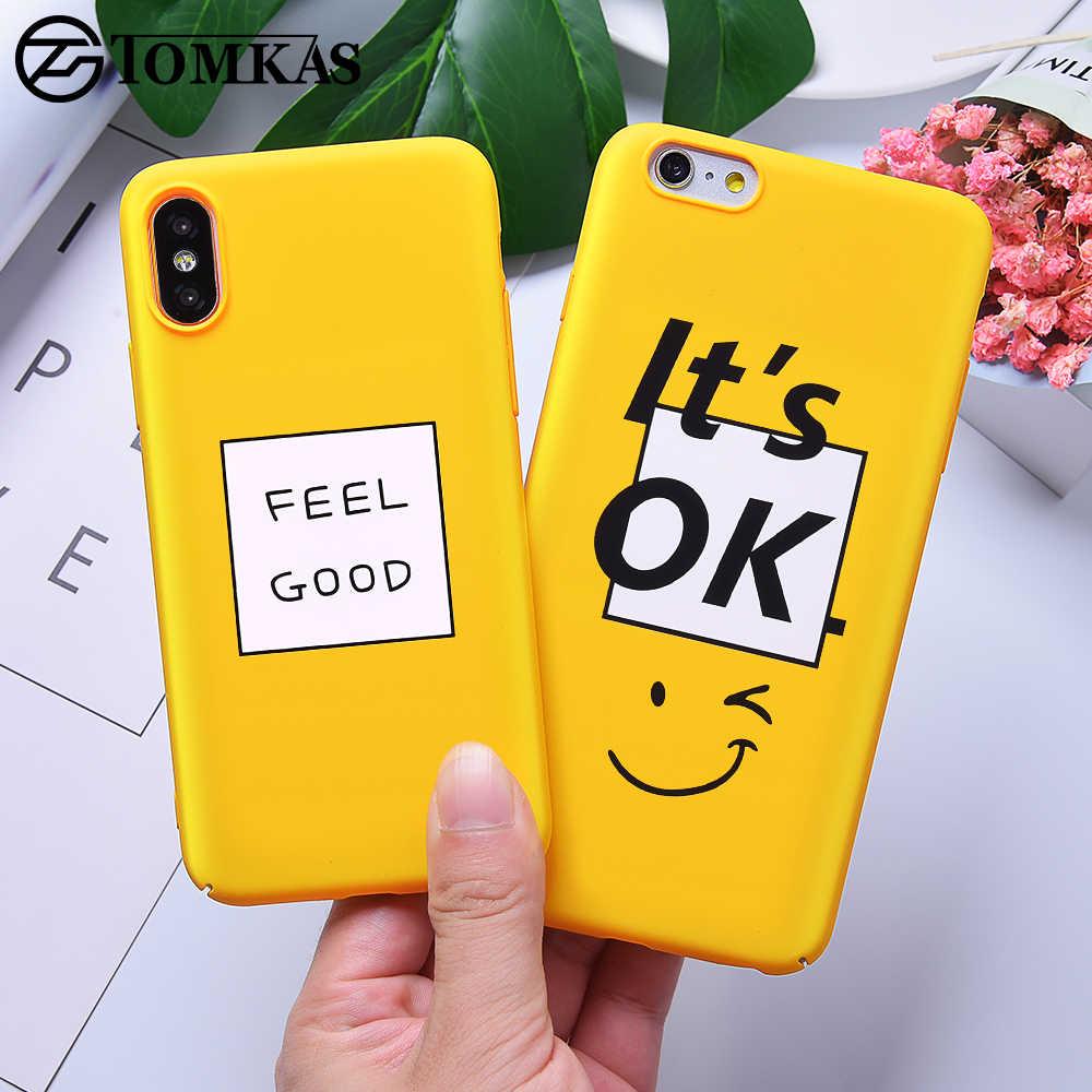 Милый чехол TOMKAS для iPhone XS, XR, 8, 7, 10, 6s, желтый чехол для телефона, чехол s, для iPhone X, 7, 8, 6 s Plus, XS Max, роскошный чехол из поликарбоната