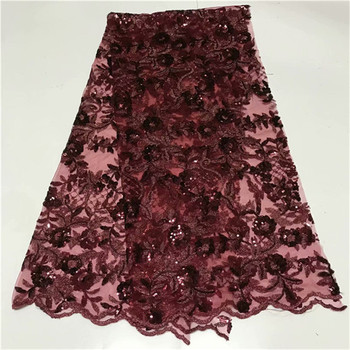 Nigerian Lace Fabrics Wholesale And Retail Red black African Sequin Lace Fabric New High Quality Swiss Voile Laces Switzerland