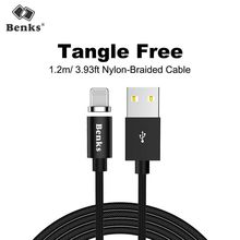 Benks Strong Magnetic Lighting Charging Cable 8 Pin For Apple iPhone X 10 8 7 6 5s Plus For iPad Mini Nylon Charger Cables 1.2M