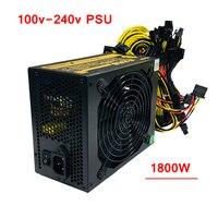 Горнодобывающей установки PC 1800 Вт Питание компьютер Asic Bitcoin Monero CryptoNote Шахтер ATX БП 100 240 В для RX470 480 570 6/8 видеокарта