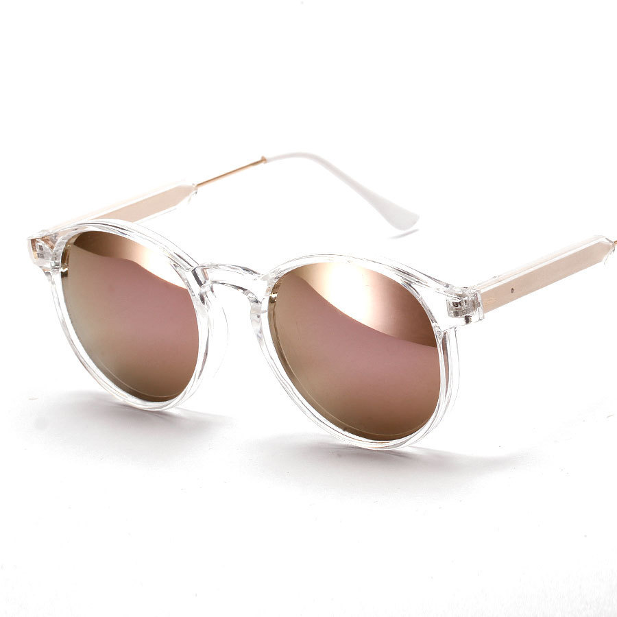 New vintage round clear frame sunglasses men gold purple rose mirror ...