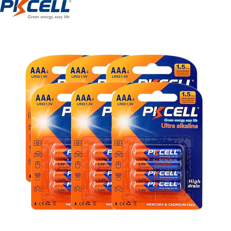 24Pcs/6card PKCELL AAA Lr03 1.5V Alkaline Dry Batteries E92 AM4 MN2400 MX2400 Pilas Aaa Battery Toothbrush Walkaman