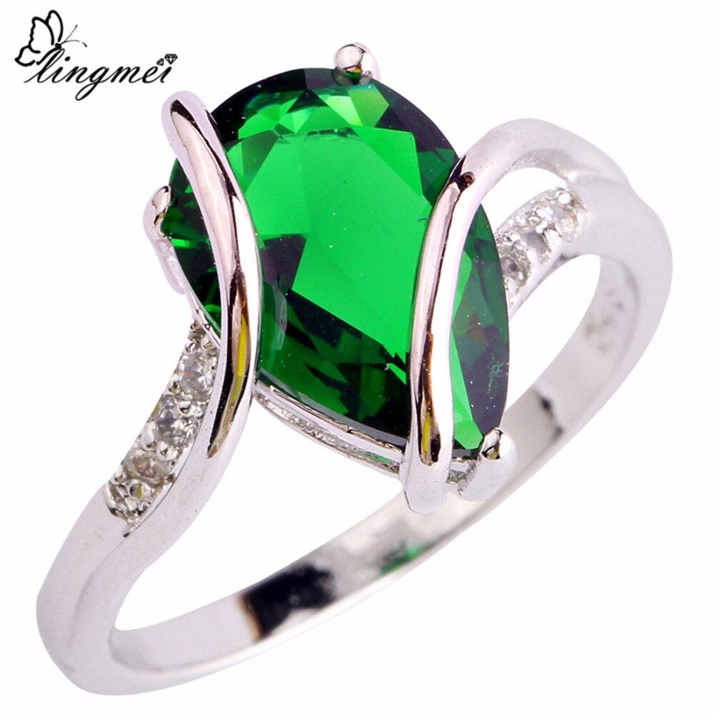2050d828d85a Lingmei nueva moda popular verde blanco CZ plata color anillo tamaño 6 7 8  9 10 mujeres Niza joyería envío Gratis 867R17