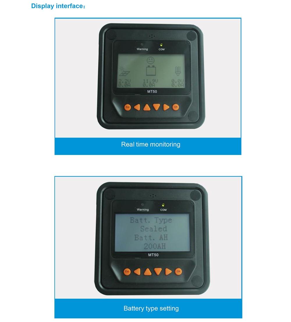 Controlador solar medidor remoto MT-50 para epever