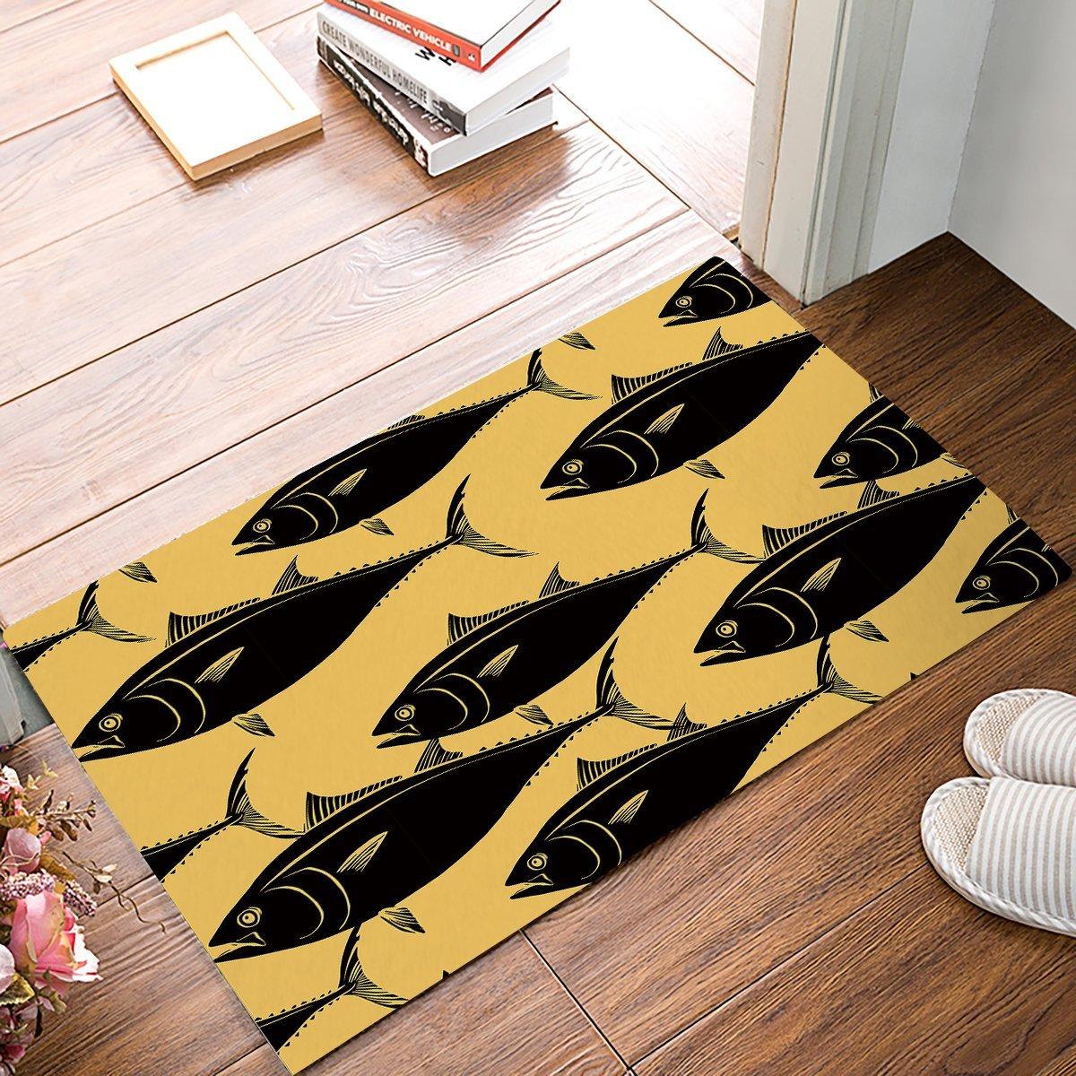 Yellow Background Black Fish Door Mats Kitchen Floor Bath Entrance Rug Mat Absorbent Indoor Bathroom Decor Doormats Rubber