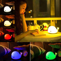 Cute Dolphin LED Night Light USB Rechargeable Sensitive Tap Control Night Lamp For Bedroom Baby Nursery