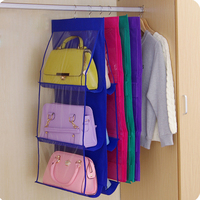 2016 6 Pocket Shelf Hanging Organizer Storage Bag Rack Holder Handbags Shoe PVC Durable Free Shipping