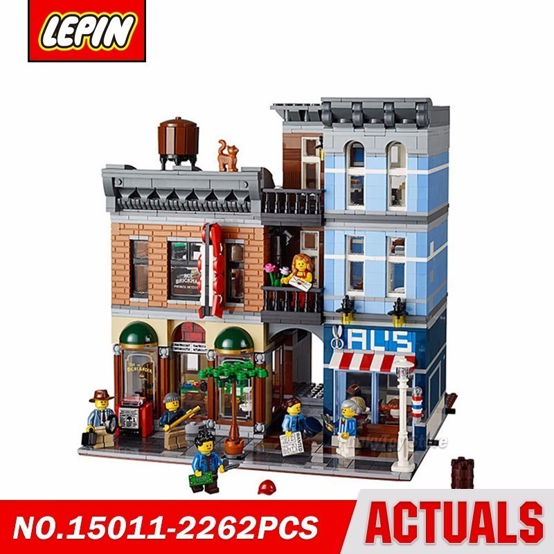Lepin 15011 Detective Agency Office 10197 City Street Series Model Building Block Brick Kits Compatible Gift lepin 22001 pirate ship imperial warships model building block briks toys gift 1717pcs compatible legoed 10210