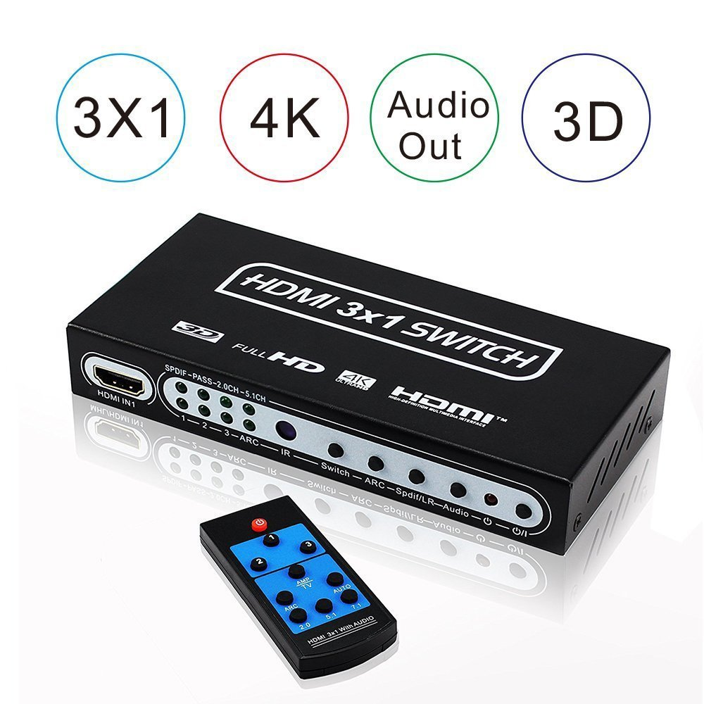 4K HDMI <font><b>Switch</b></font> Box 3 Port HDMI <font><b>Switch</b></font> Audio Extractor 3x1 HDMI <font><b>Switch</b></font> Optical Spdif Toslink 1.4 HDMI <font><b>Switch</b></font> <font><b>Remote</b></font> For PS3 XBox image