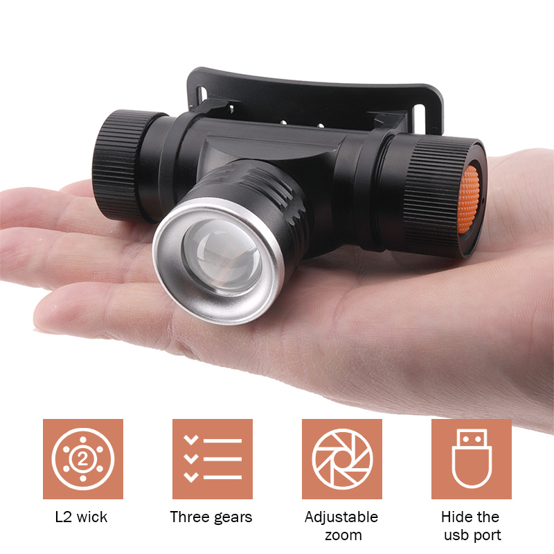 Xm L2 Led Head Lamp Rechargeable Headlamps Light Head Led Flashlight Zoomble Waterproof Usb Headlight Head Torch Use 18650