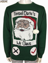 2016 New Ugly Christmas Sweaters for Men and Women Funny Santa Claus Tinsel Date's Pattern Xmas Pullover Attire Plus Size S-2XL