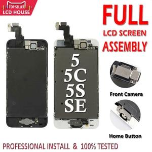 Image 1 - סט מלא הרכבה LCD מסך עבור iPhone 5/5C/5S/SE LCD תצוגת מגע Digitizer מסך מלא החלפת Pantalla + לחצן בית