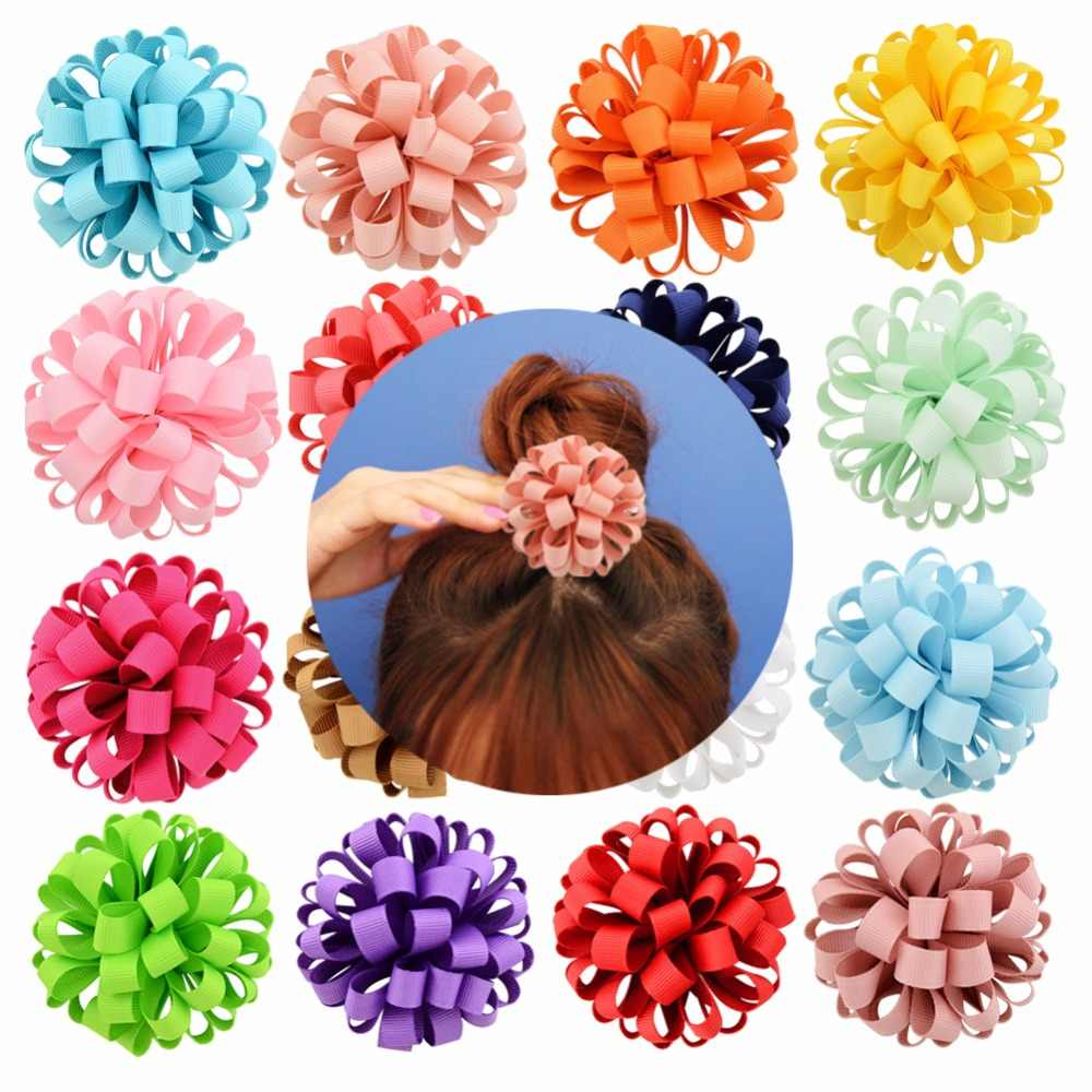 1piece 3inch New Design Grosgrain Ribbon Flower With Elastic Rope Floral Hair Bands Accessories 813