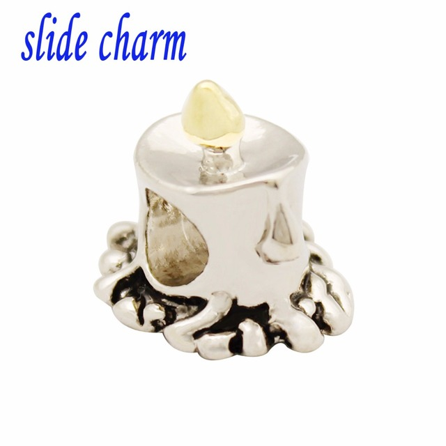 Slide Charm Free Shipping Y, Silver Color, Tears Candlelight Dinner Beads  Fit Pandora Bracelet