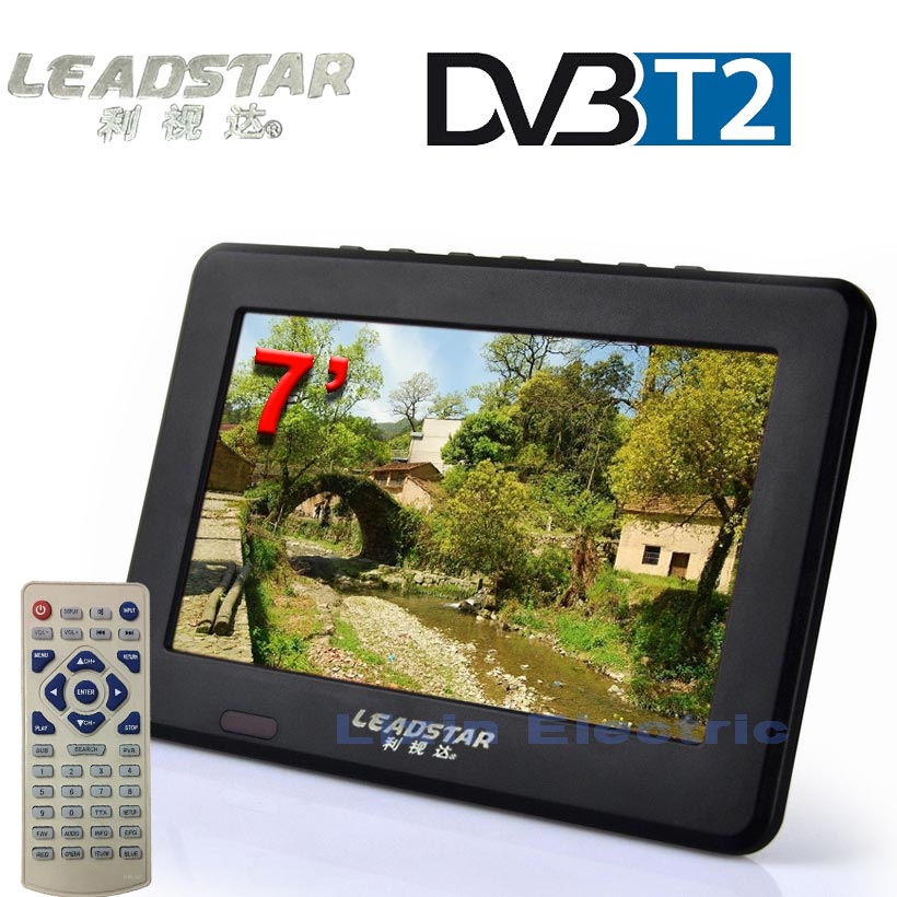 LEADSTAR 7 Portable HD DVB-T/T2 Televisions Freeview TV/AV Monitor With Tuner / USB/TF / Multimedia Player And All Analog TV free shipping digital hd tv 9inch dvb t2 tv and analog television receiver and usb audio and video playback portable dvb t tv