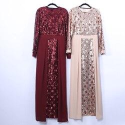 Sequin Vestidos Muslim Abaya Dubai Arabic Pakistani Hijab Dress Women Turkish Dresses Kaftan Caftan Elbise Eid Robe Musulmane