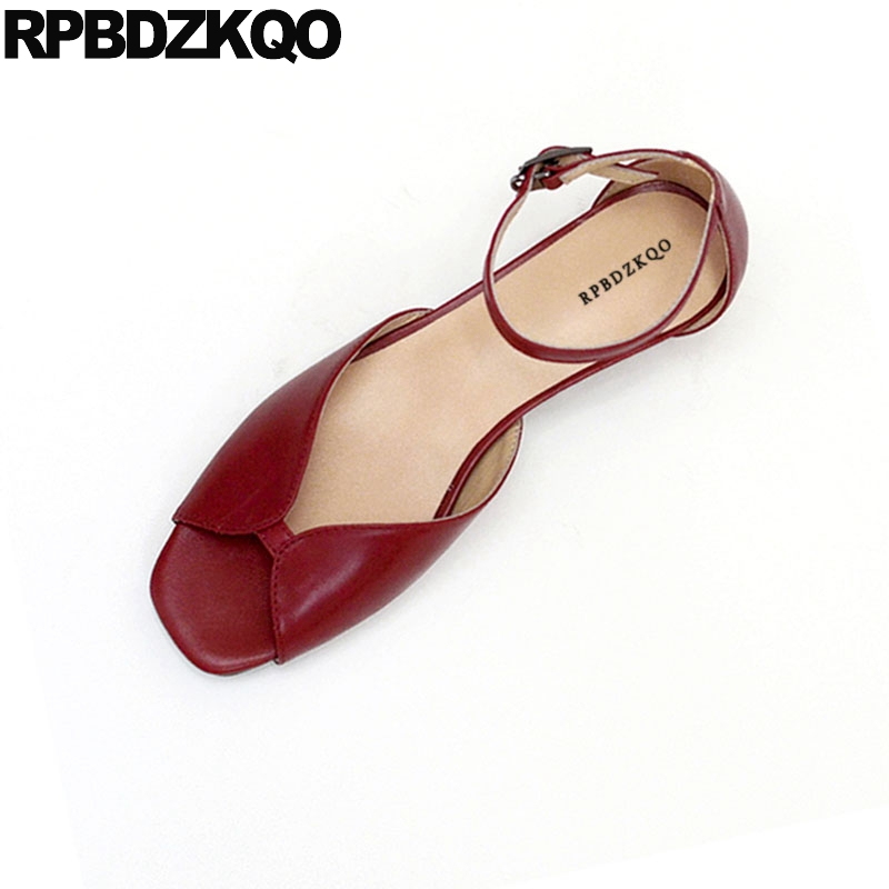 6281f728f Peep Toe Beach Designer Block Thick Ankle Strap Burgundy Pumps Women Sandals  2018 Summer Low Heel Ladies Holiday Shoes Wedding