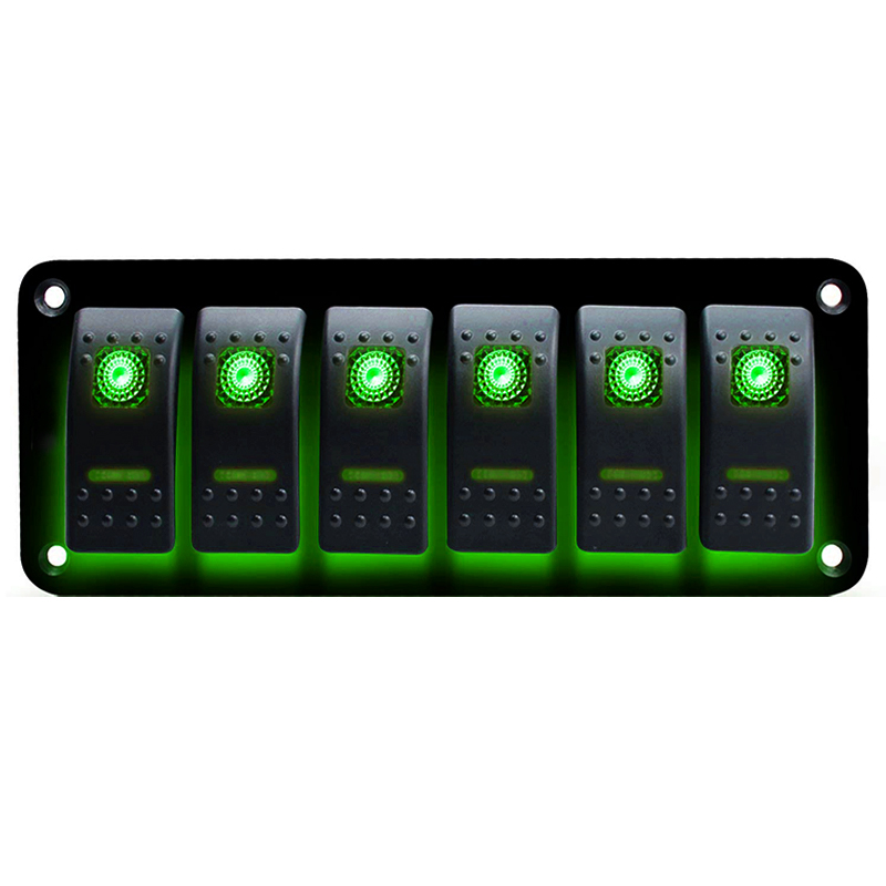3 6 Gang Dual LED Light Marine Boat RV Rocker Switch Panel 12V 24V Universal Car Boat Switch Panel Lighter Socket (China)