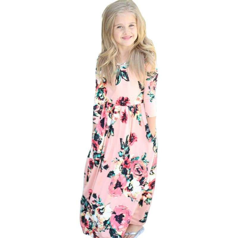 Girls Dress Floral Printed Long Dress Autumn Maxi Dresses Kids Party Princess Dresses Long Sleeve O-Neck Kids Girls Clothing New uoipae party dress girls 2018 autumn