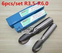 6 sztuk/zestaw R3.5-R6.0 ze stali o wysokiej prędkości piłka Frez czołowy, chwyt prosty z białej stali, frez ze stopu R