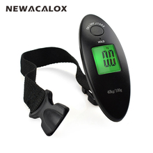 NEWACALOX 40kg x 100g Mini Digital Scale for Fishing Luggage Travel Weighting Steelyard LCD Hanging Electronic Strap Scale