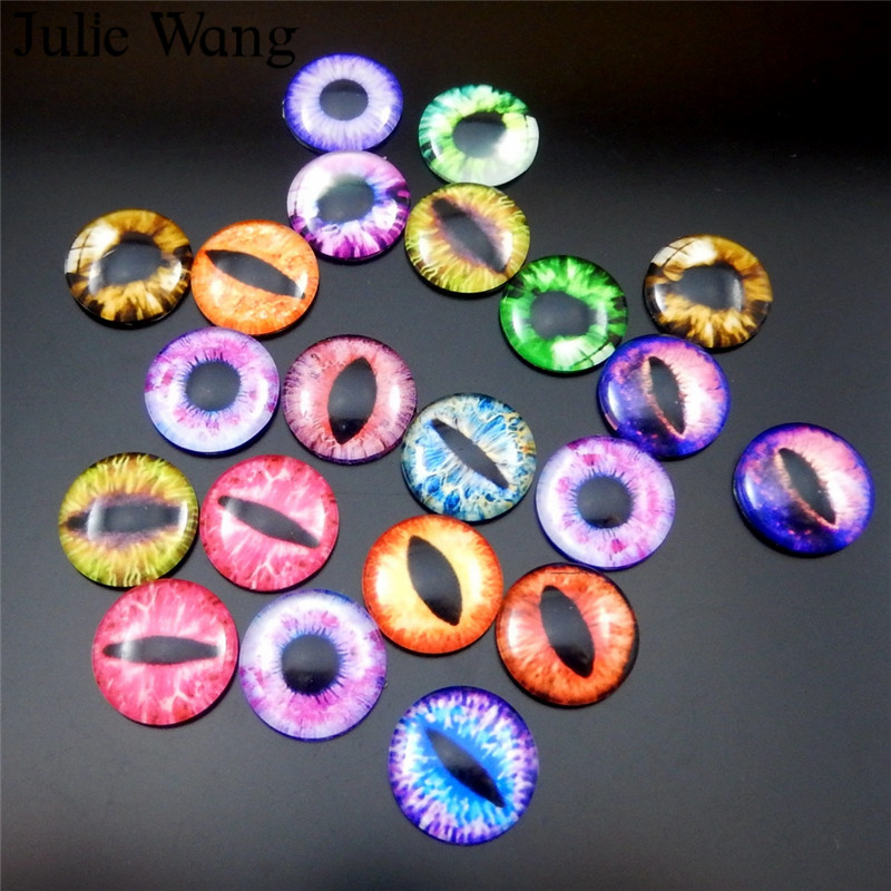 Julie Wang 20pcs 15mm/18mm/20mm Glass Round Dragon Lizard Frog Vivid Eyes Cabochons Necklace Pendant Jewelry Making Accessory(China)