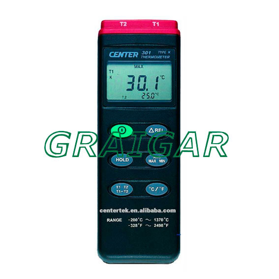 Digital Thermometer CENTER-301 (K-type:-200-1370C),Free shipping