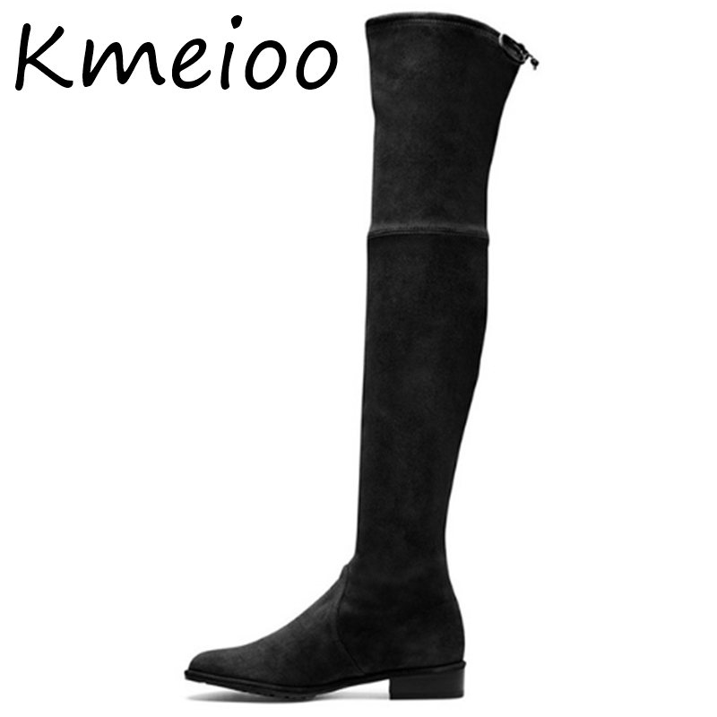 Kmeioo shoes woman 2018 Winter Pointed Toe Thigh High Over The Knee Women Boots Stretch Suede Flat Heel Tall US Size 5-15Kmeioo shoes woman 2018 Winter Pointed Toe Thigh High Over The Knee Women Boots Stretch Suede Flat Heel Tall US Size 5-15