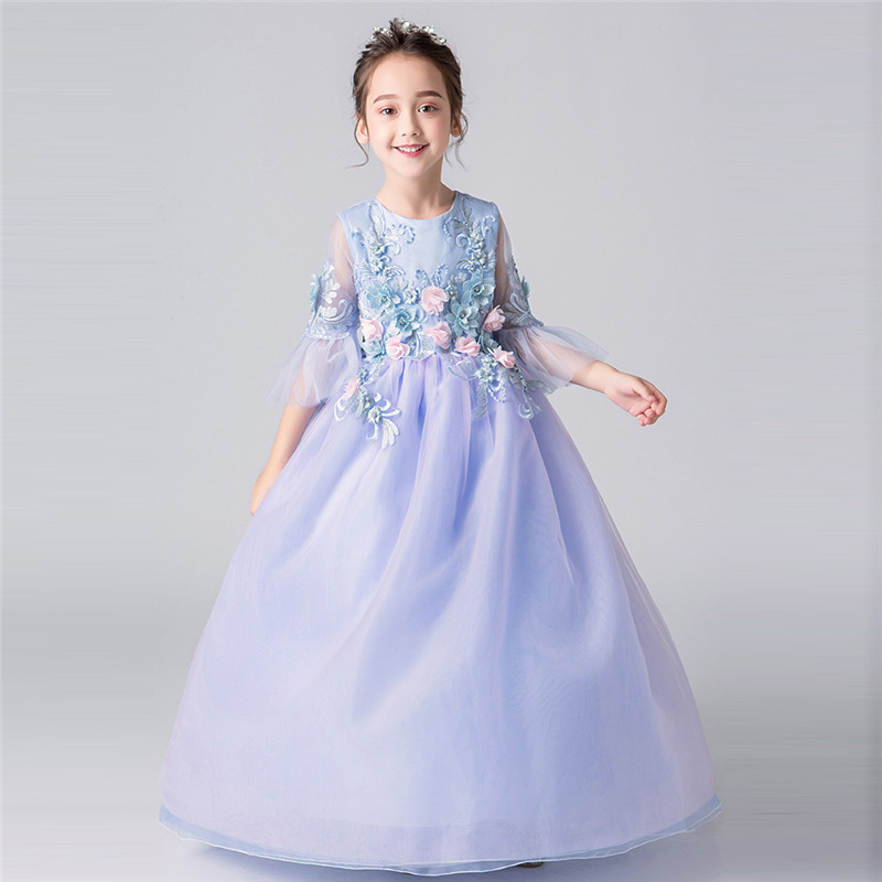 2018New Luxury Children Girls Appliques Flowers Birthday Wedding Party Prom Mesh Dress Model Catwalk Kids Teens Piano Host Dress