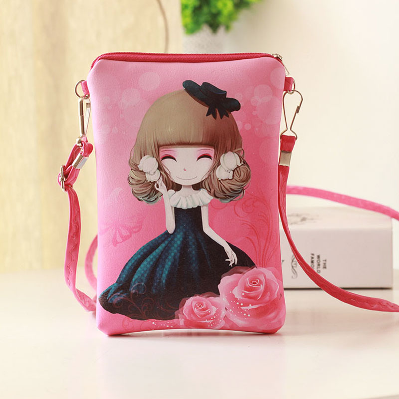wulekue PU leather cartoon characters coin purse small pouch bags children mini messenger bag  mobile bags for kids girls