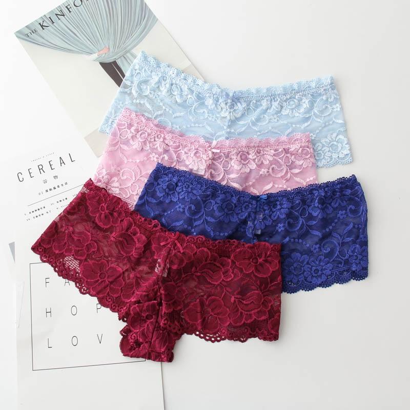 Good Quality Women Sexy Transparent Full Lace Panties Brand Water Soluble Trunk Gauze Underwear Low-waist Women Briefs M-5XL 1