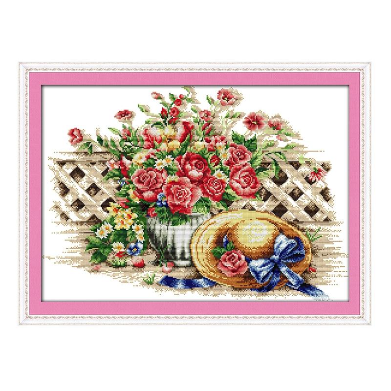 JoySunday chinese cross stitch diy Sweet flower hat flower DMC14CT11CTcotton needlework livingroom restaurant hotel painting