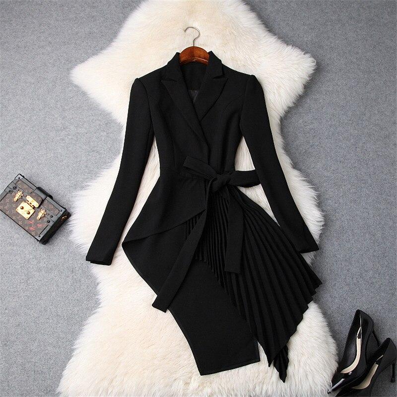 Dames élégant col cranté OL Bandage irrégulier Long Blazer femmes à manches longues Slim veste manteau 2018 automne nouveau Blazer costumes