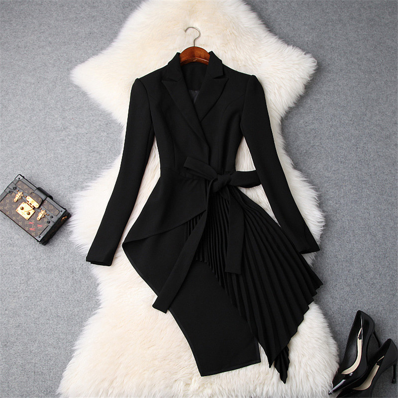 Ladies Elegant Notched Collar OL Irregular Bandage Long Blazer Women Long Sleeved Slim Jacket Coat 2018 Autumn New Blazer Suits