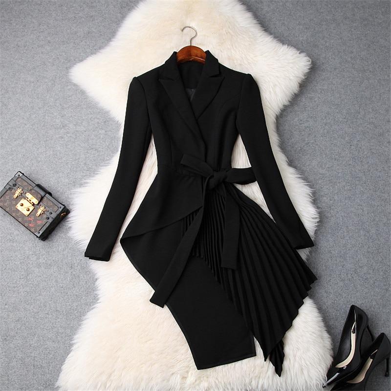 Ladies Elegant Notched Collar OL Irregular Bandage Long Blazer Women Long Sleeved Slim Jacket Coat 2018 Autumn New Blazer Suits