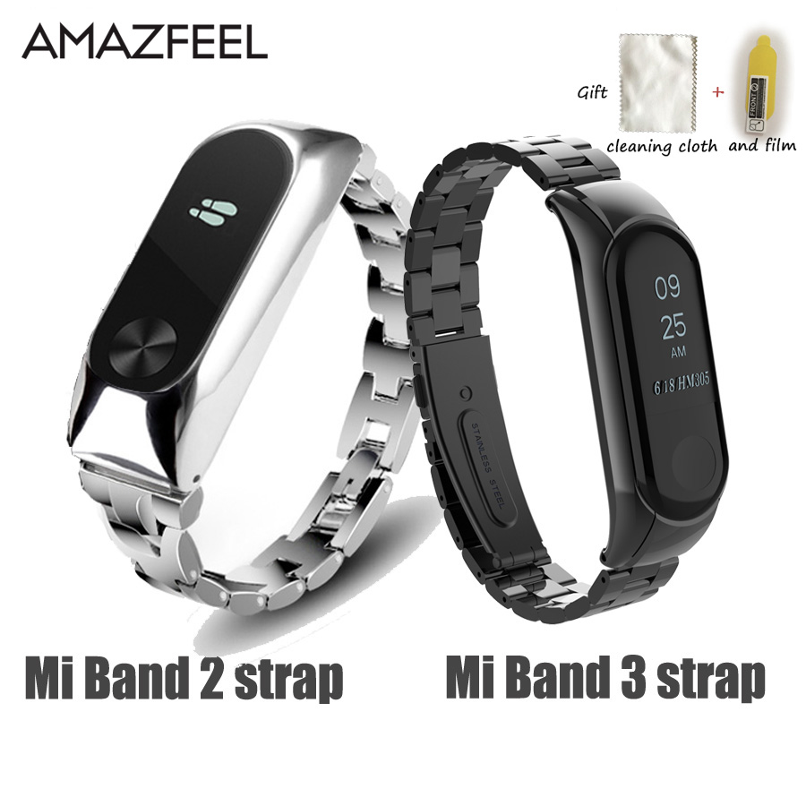 Mi Band 2 Wrist Strap Metal For Xiaomi Mi Band 3 2 Bracelet Screwless Stainless Steel Miband 2 Wristbands Miband 3 Strap correa image