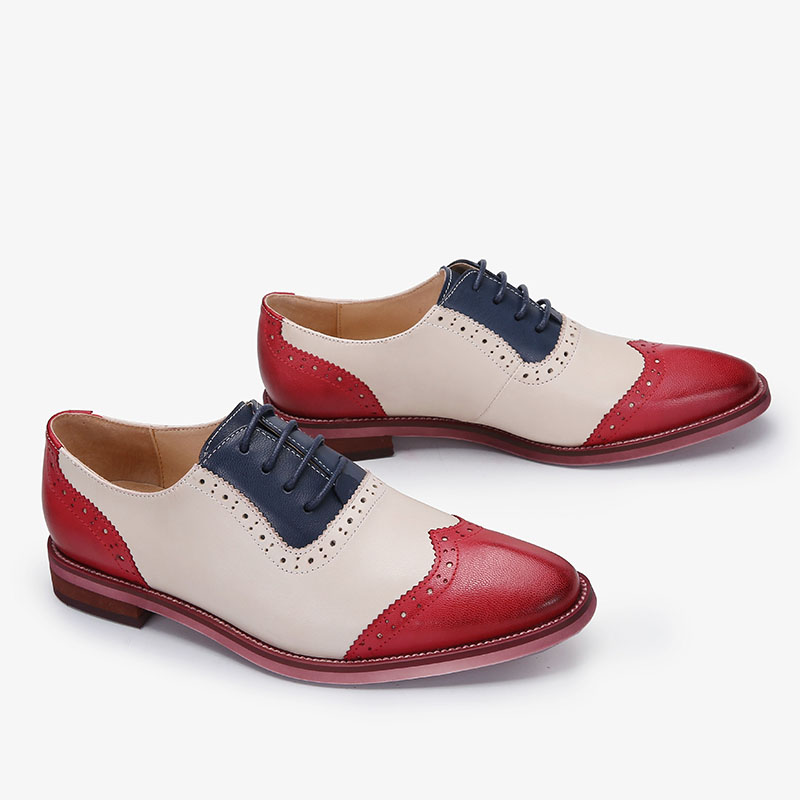 2018 VALLU Women Brogue Shoes Wingtip Perforated Lace Up Vintage Mixed Color Genuine Leather Oxfords Women Flats Plus Size 43 plus size 32 45 brogue shoes women genuine full grain leather round toe lace up 2018 fashion handmade lady flats wingtip oxfords