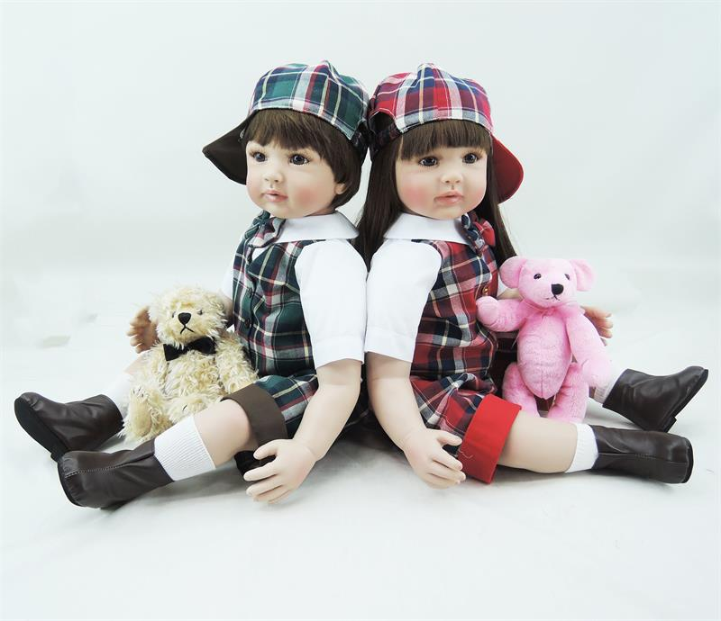 Pursue 24/ 60 cm Handmade Soft Body Fake Baby Doll Reborn Twins Baby Toddler Dolls Toys for Child Kids Birthday Christmas Gift pursue 24 61 cm handmade cotton body silicone reborn baby boy doll fake toddler prince baby doll toys that looks real for kids